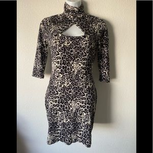 Bebe leopard Print Turtle Bodycon Sexy Silk Blend
